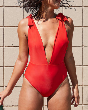 Solid Accompanied Stripe One-Piece Swimsuit