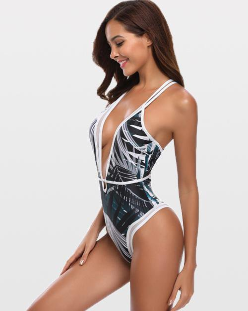 Passionate Leaves Print One-Piece Swimsuit