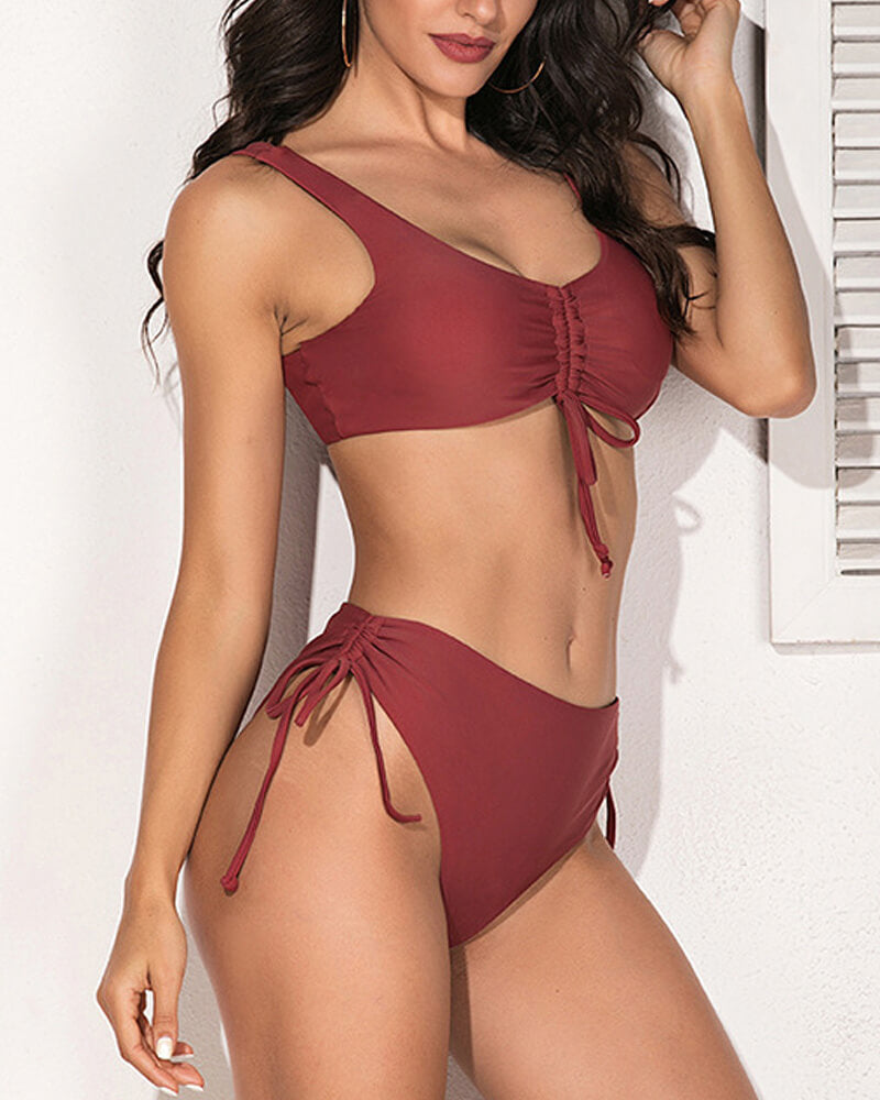 Red Front Lace-up Bikini Set