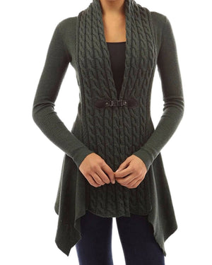 Sunygal Womens Long Sleeve Shawl Collar Buckle Knit Cardigan Sweater for Autumn & Winter