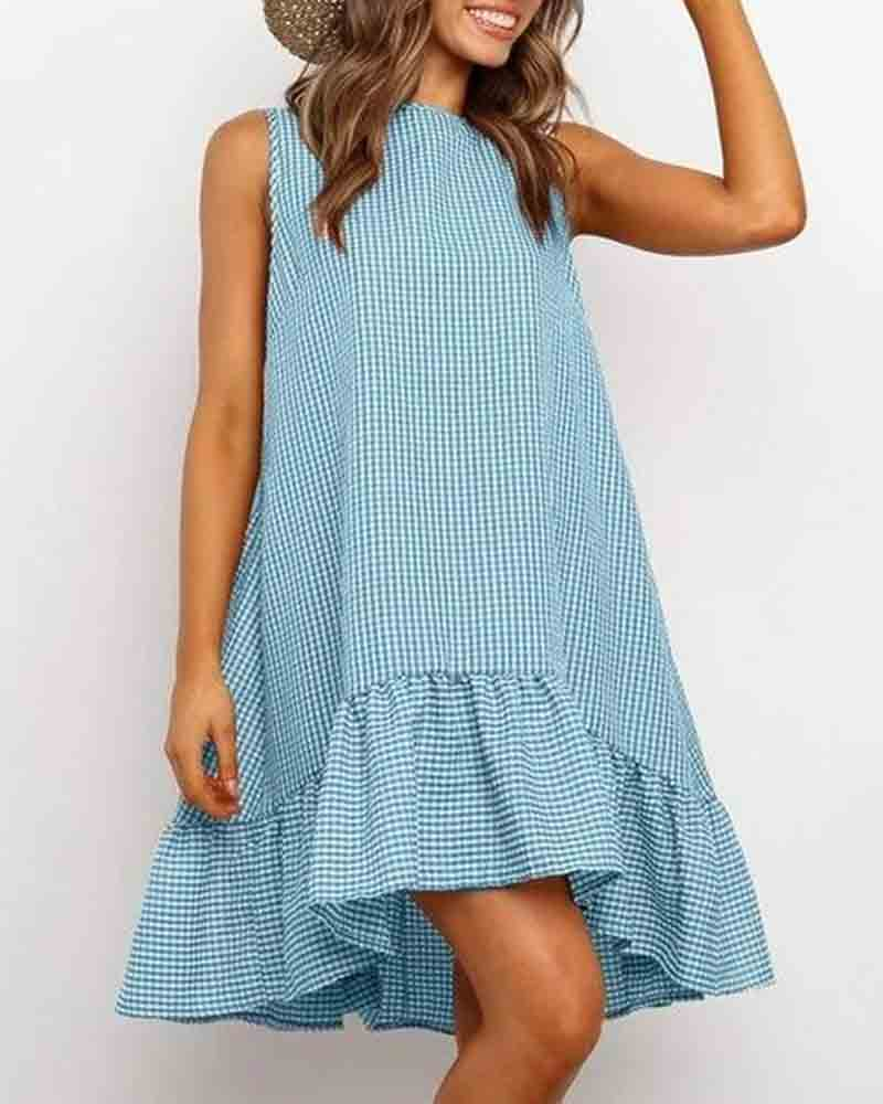 Round Neck Sleeveless Plaid Mini Dress