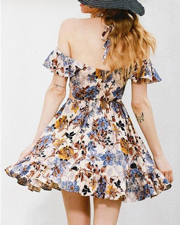 Flowers Off Shoulder Dress Free Shipping