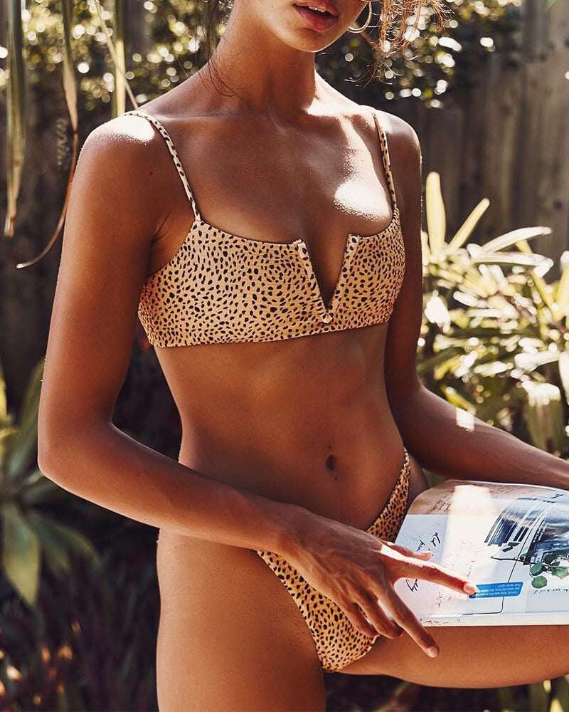 Cut Textured V Wire Bikini Set