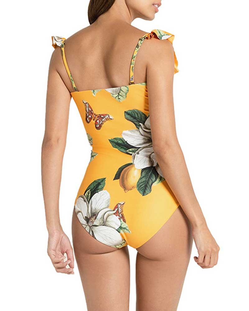 Floral Ruffle Bandeau One Piece Swimsuit