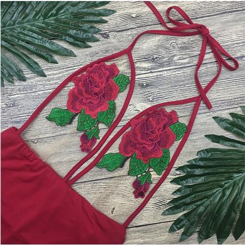 Symmetry Embroidery Rose Flowers One-piece Swimwear