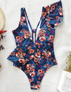 Floral Print Ruffled One-piece Swimsuit