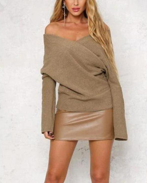 Open Shoulder Cross Front Long Sleeve Sweater