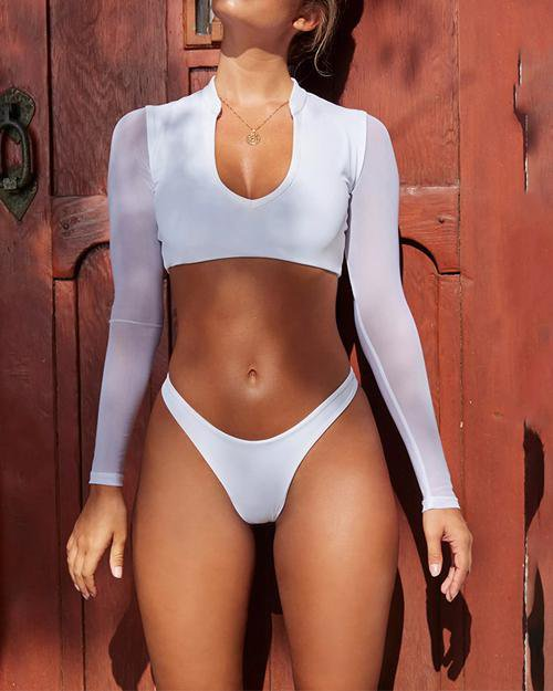 Long Sleeved Plunging Mesh Bikini Set Surfing Suit