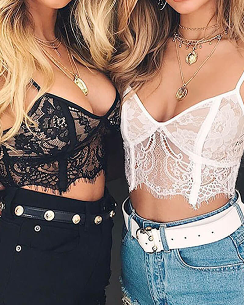 Black And White Lace Bralette