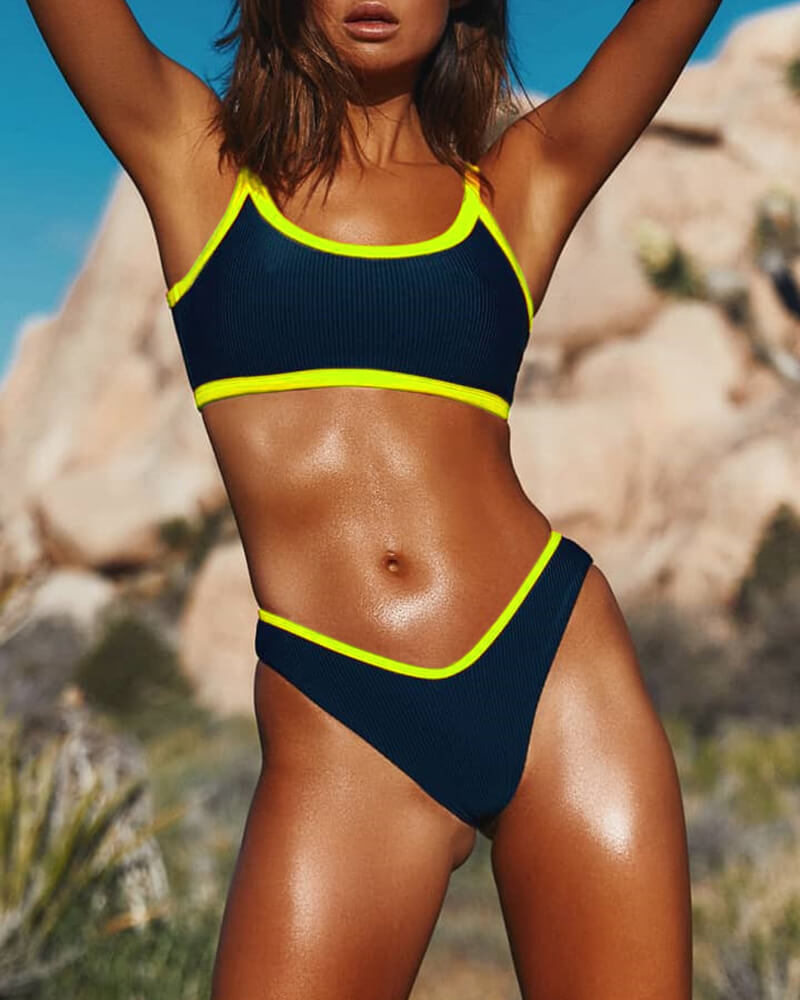 Fluorescent Edging Bikini Set