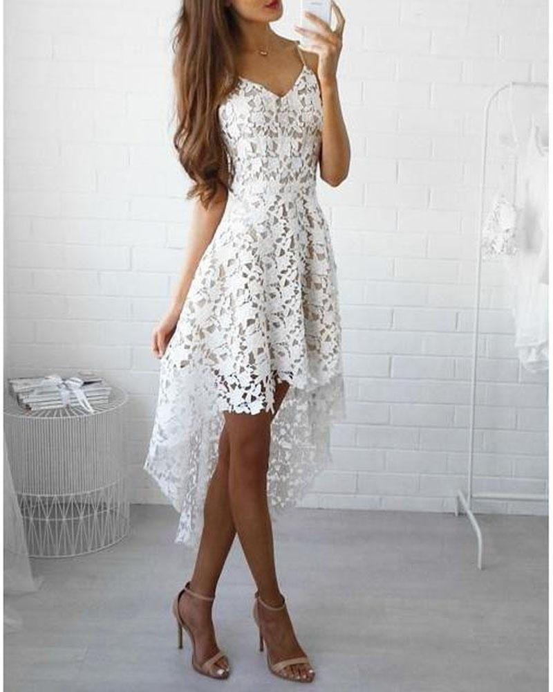 V-neck Dipped Hem Spaghetti Straps Cami Lace Dress