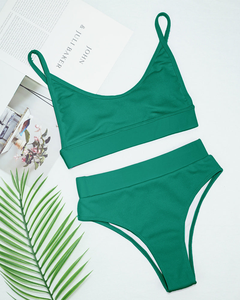 Green Cut Out High Waisted Bikini Swimsuit