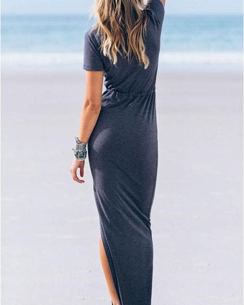 Summer Sea Shads V Neck Dress