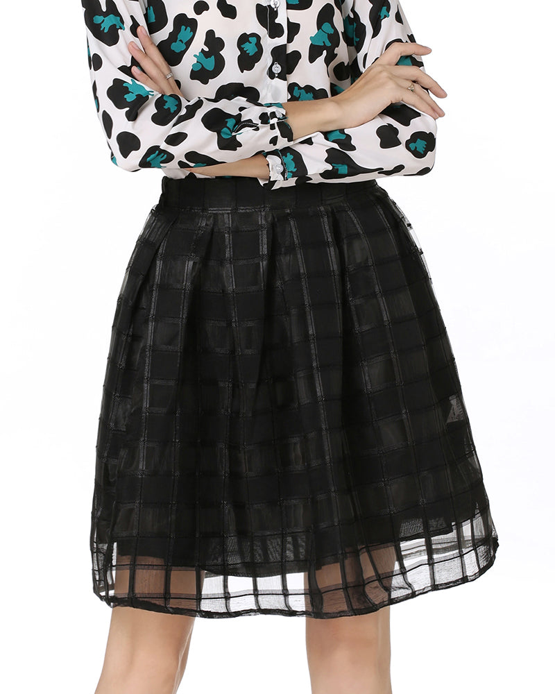 Black Pleated Gauze skirt