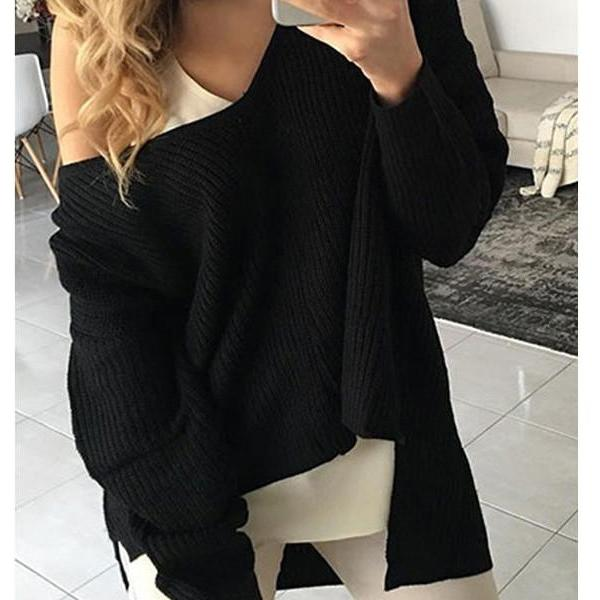 V-Neck Knitting Color Sweater