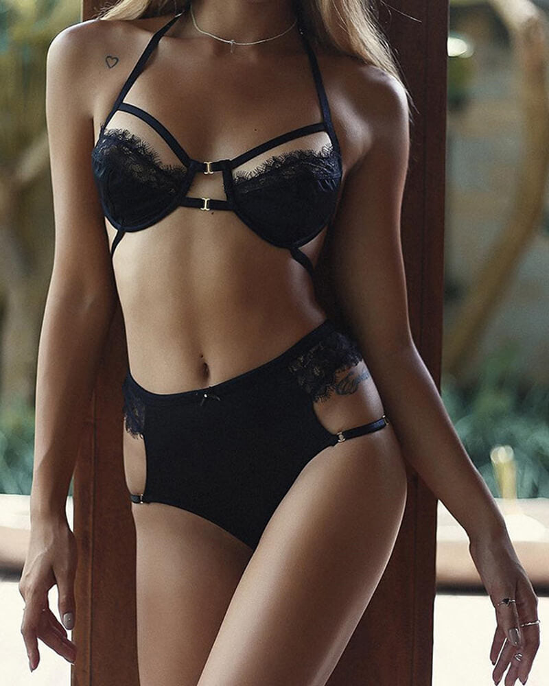 Halter Design Black Lace Lingerie Set