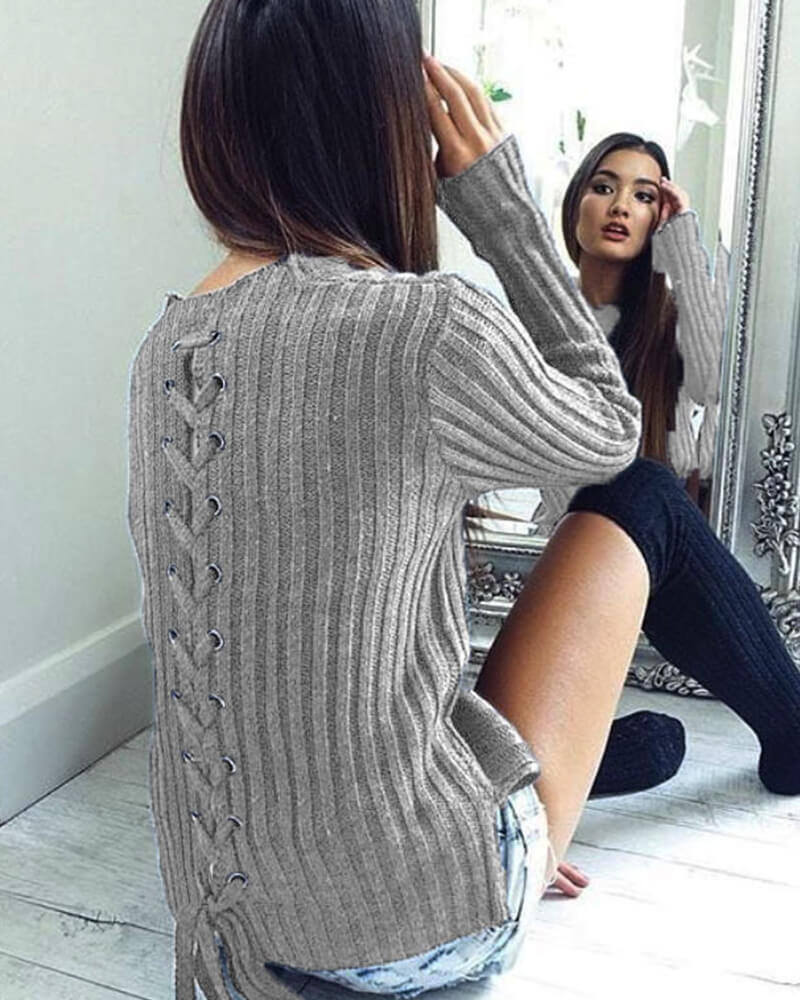 Lace Up Back Crew-Neck Long Sleeve Sweater