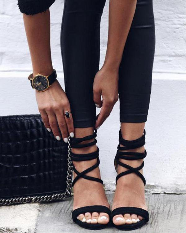 Sunygal Lace Up Velvet Heel