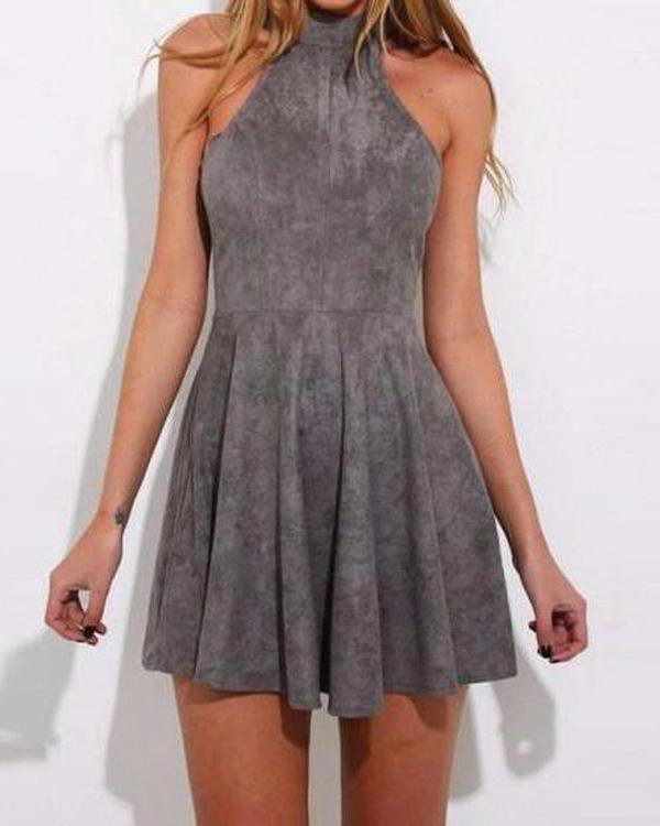 Over The neck Gray Lace Up Mini Dress