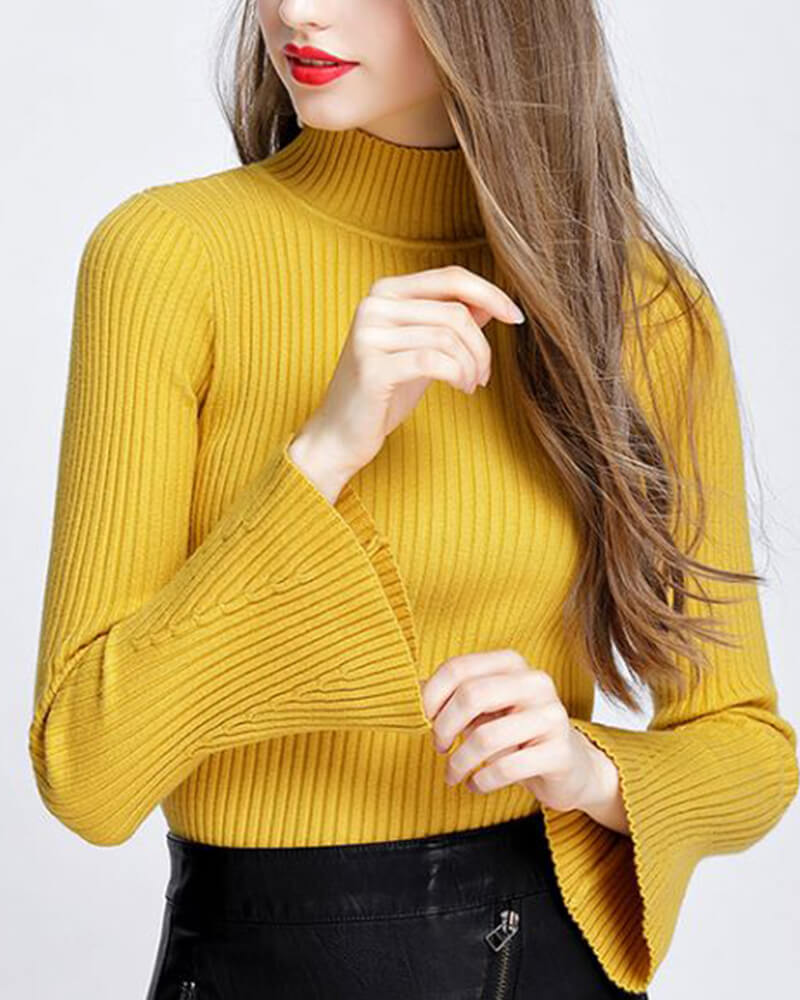 Crewneck Bell Long Sleeve Solid Sweater