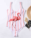 Flamingos Stripe Print One-piece Bikini