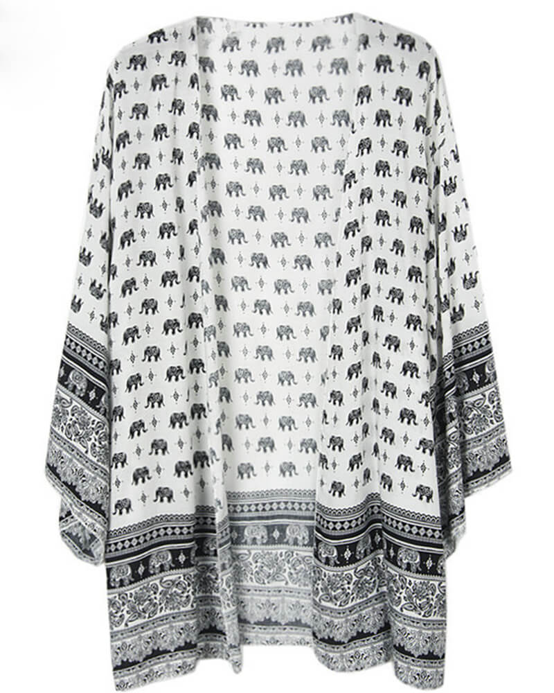White Paisley Print Cover-up