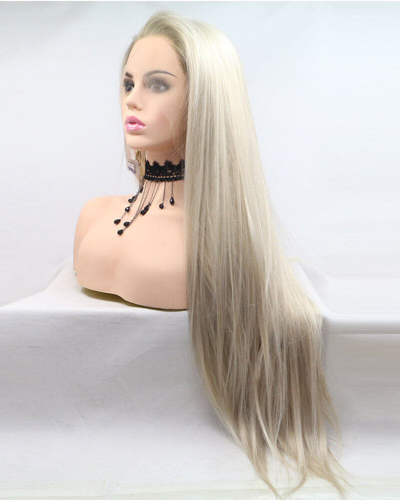 White Long Straight Lace Front Human Wig