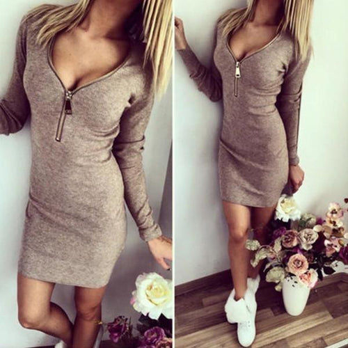 Oshlen Sexy Slim Fit V-Neck Long Sleeve Casual Dress