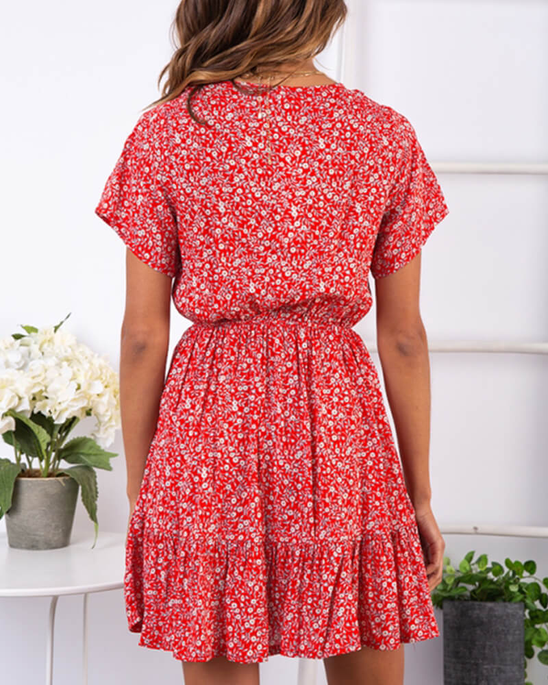 Red Floral Print  V-neck Slim Dress