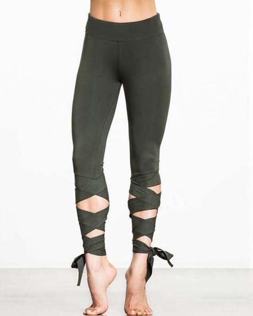 High Waist Criss Cross Tie Leggings