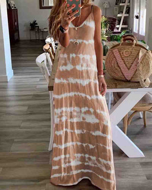 Sleeveless V Neck Tie Dye Long Dress
