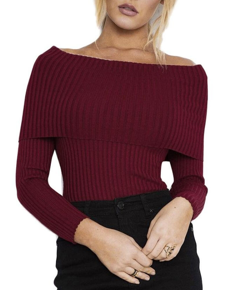 Grace Off The Shoulder Slim Fit Solid Sweater