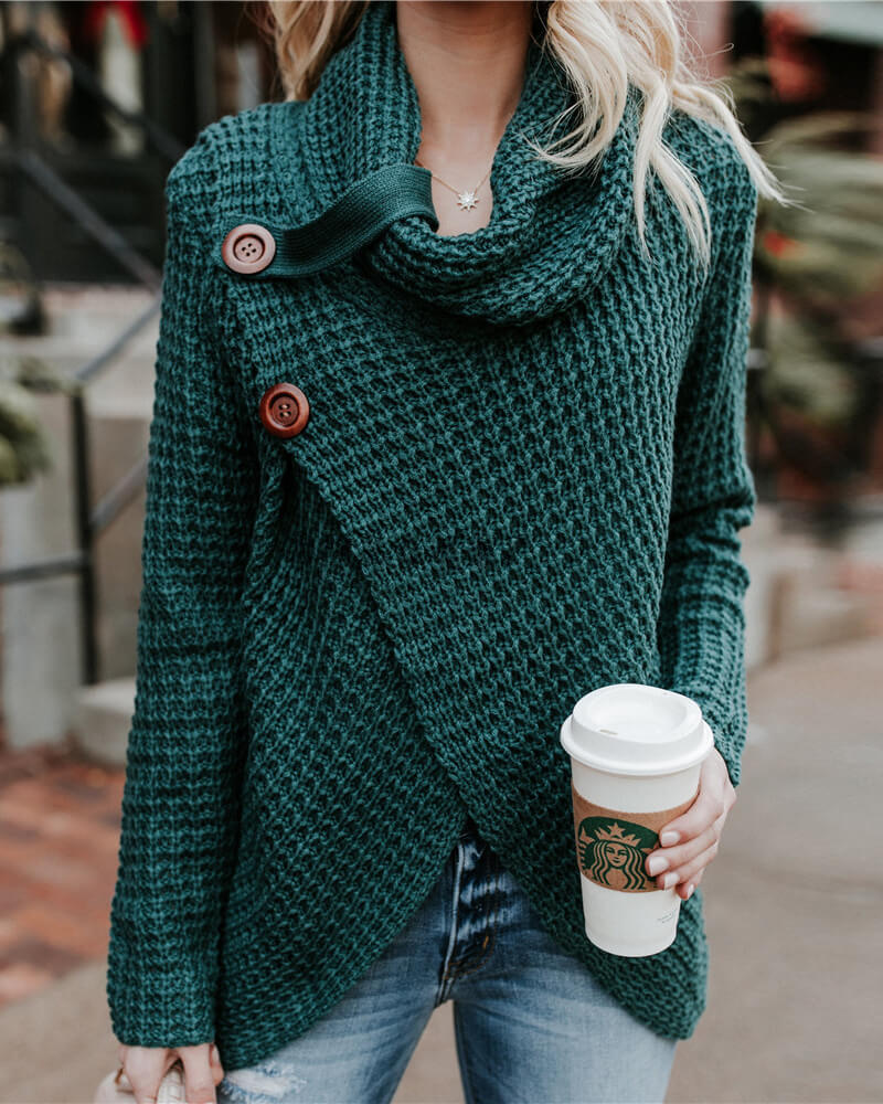 Irregular Cardigan Long Sleeve Sweater