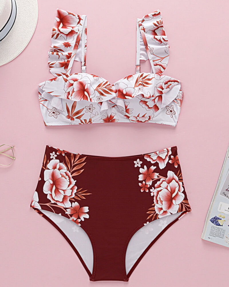 Red Floral High-Waisted Bikini Set
