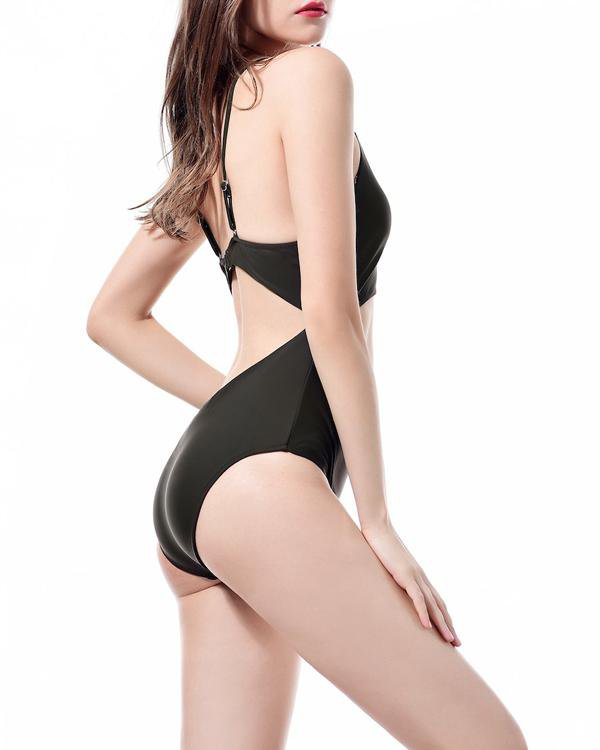 Chest Hollow Out Lace Up One-Piece Bikini Swimsuit