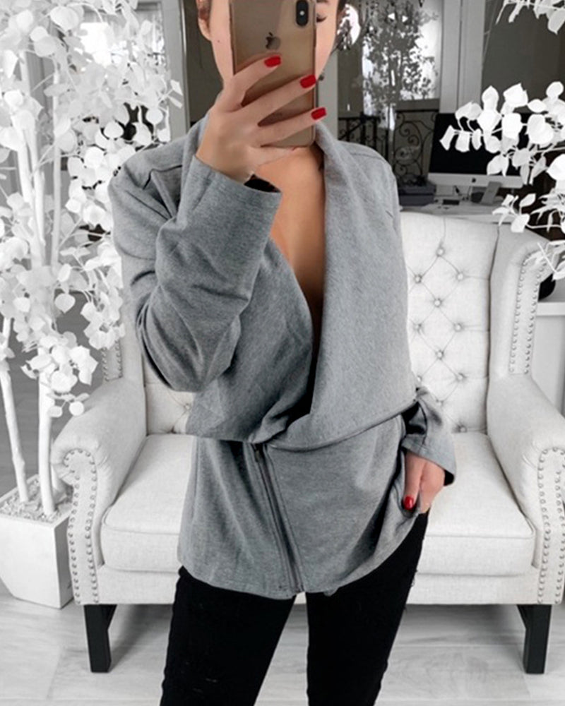 Long Sleeve Irregular Zipper Sweatershirt
