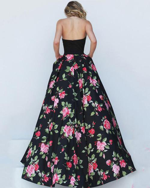 Floral Pattern Open Back Long Evening Dress