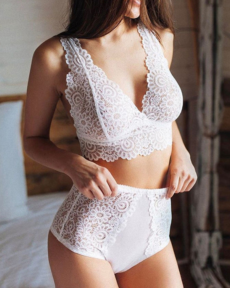 White Floral Lace Lingerie Set