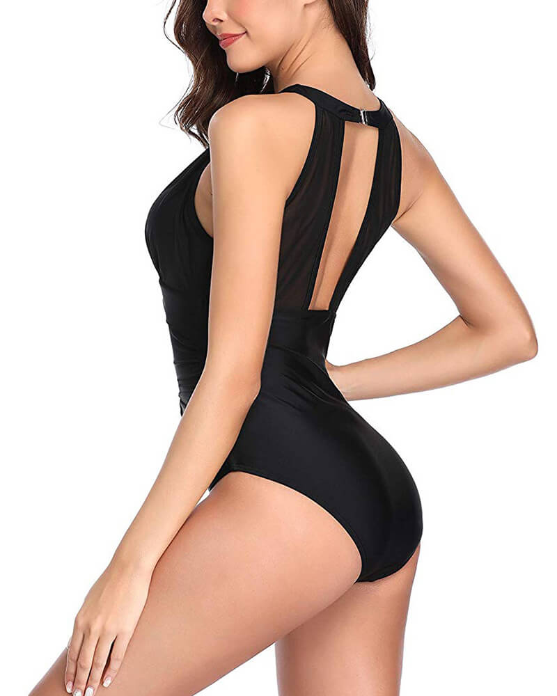 Mesh Ruched One Piece Swimsuit
