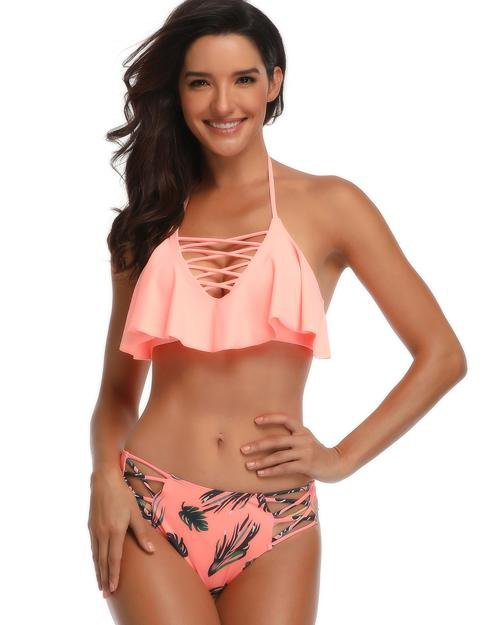 Falbala Lace Up Halter Bikini Set