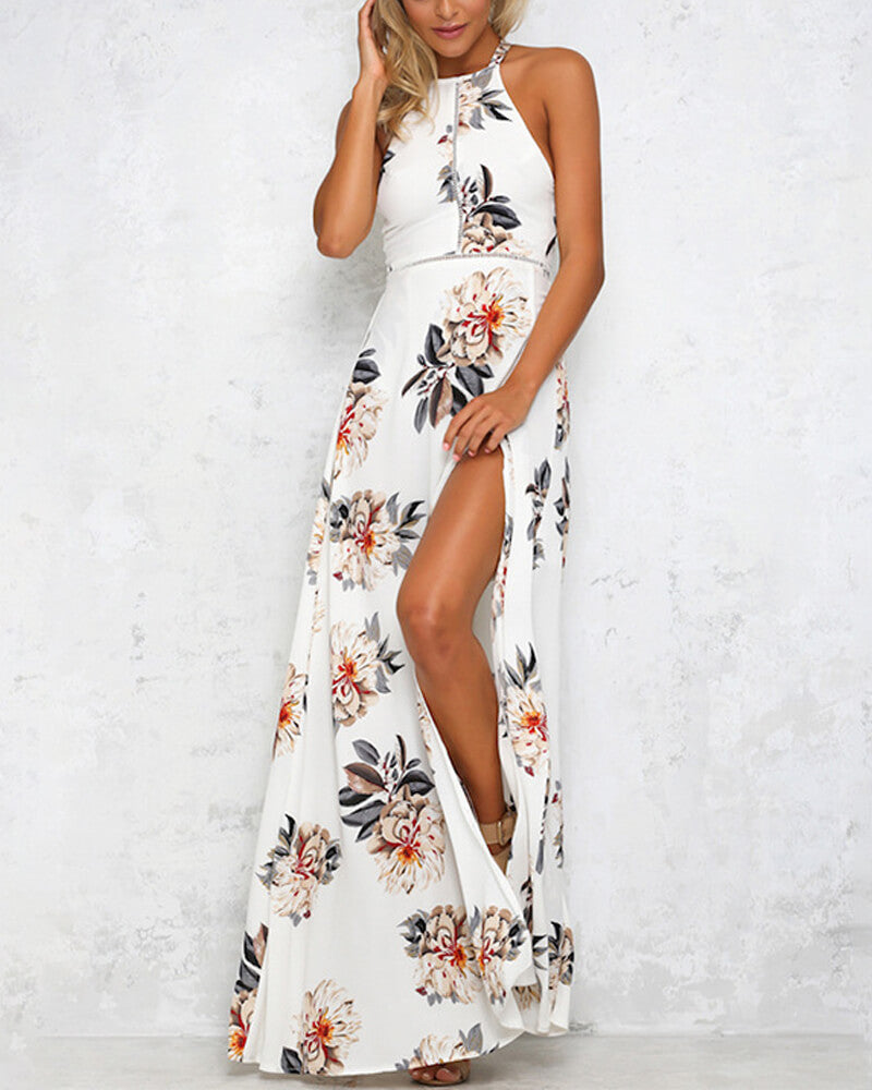White Floral Sleeveless Halter Dress