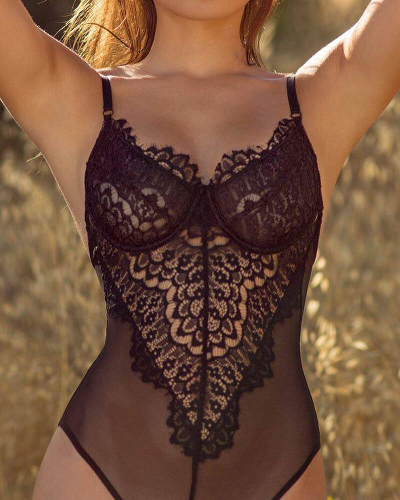 lacy Eyelash lace Teddy Lingerie