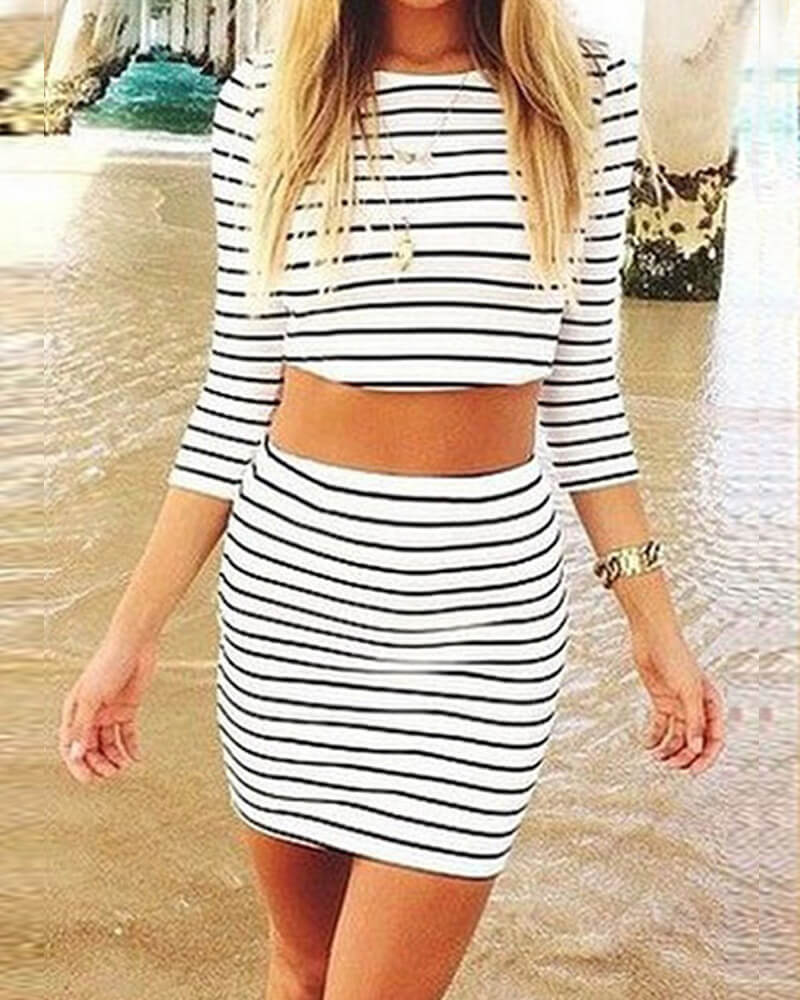 Sunygal Stripe Two-piece Outfits Casual style Dress Suits