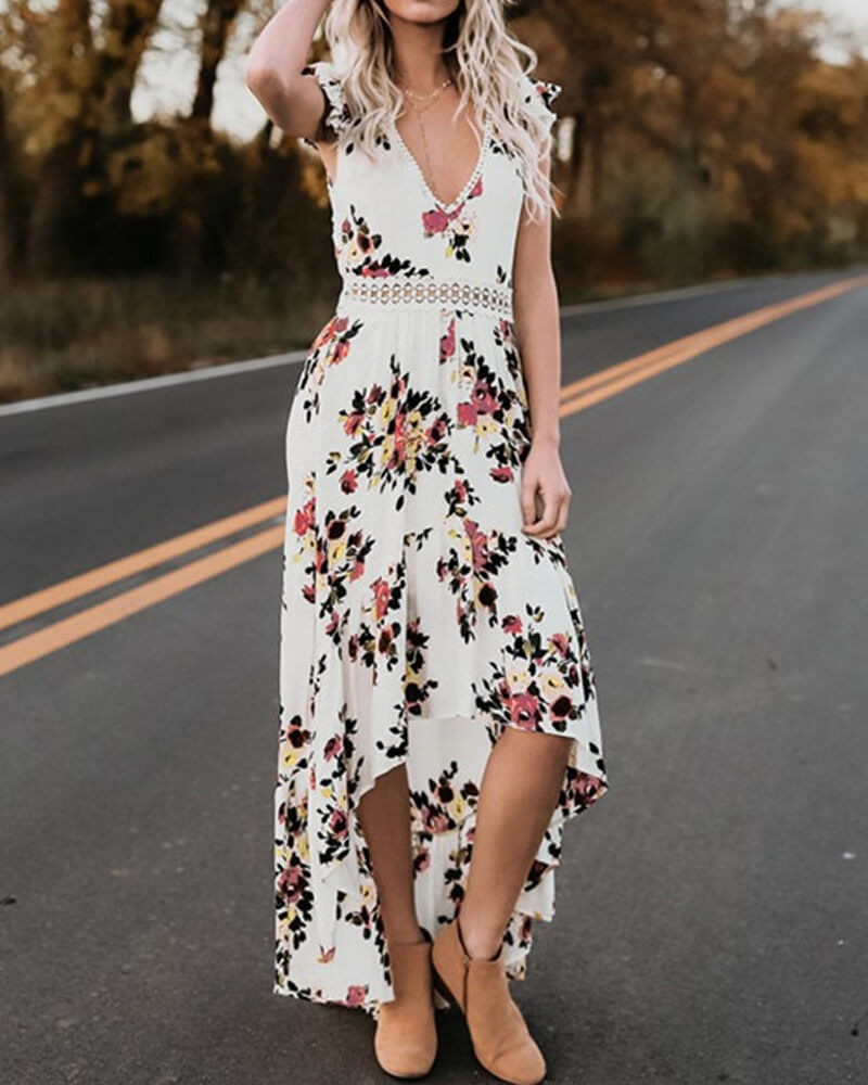 Lace Backless Floral Long Dress