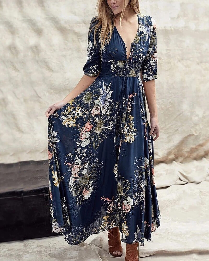 Smocked Bohemia Floral Long Dress