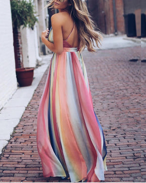 Glam Color Bohemian Style Long Dress