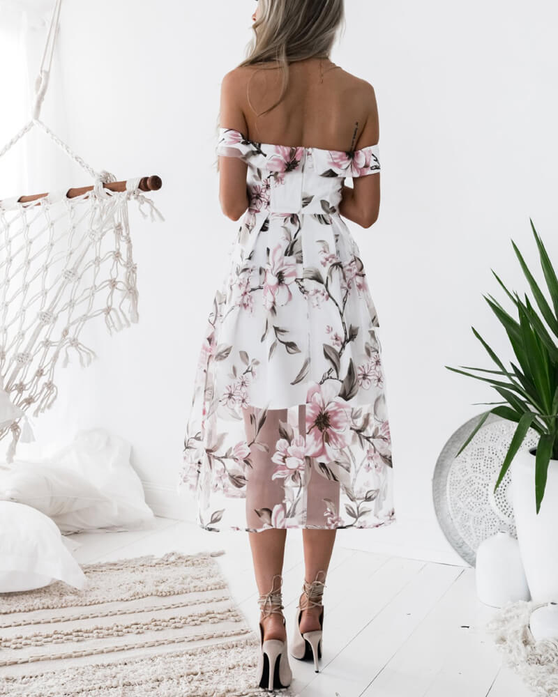Sweet Off Shoulder Floral Dress