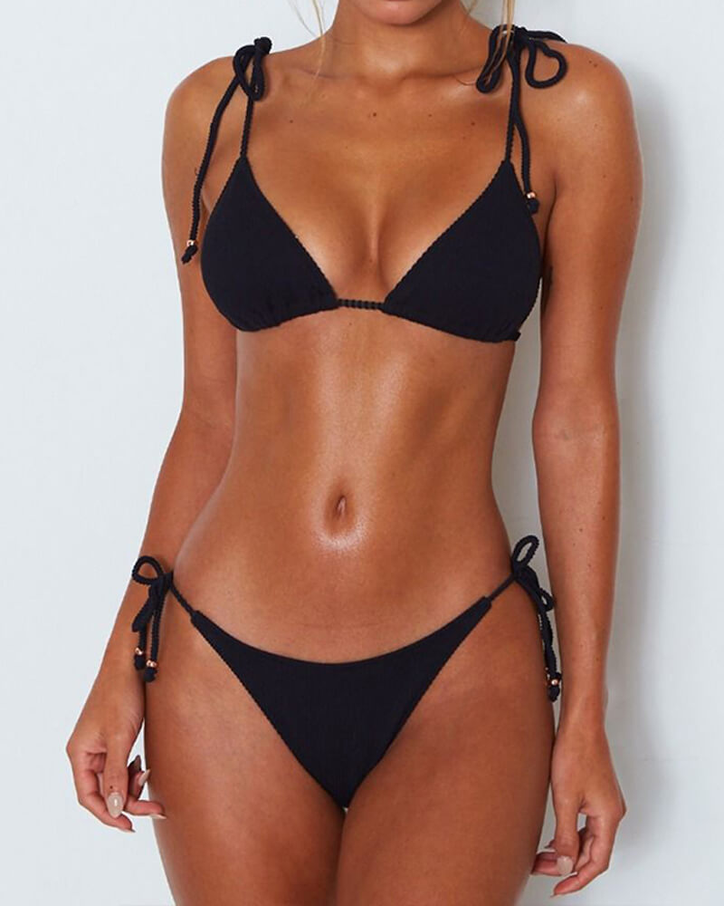 Solid Tie Shoulder Bikini Set