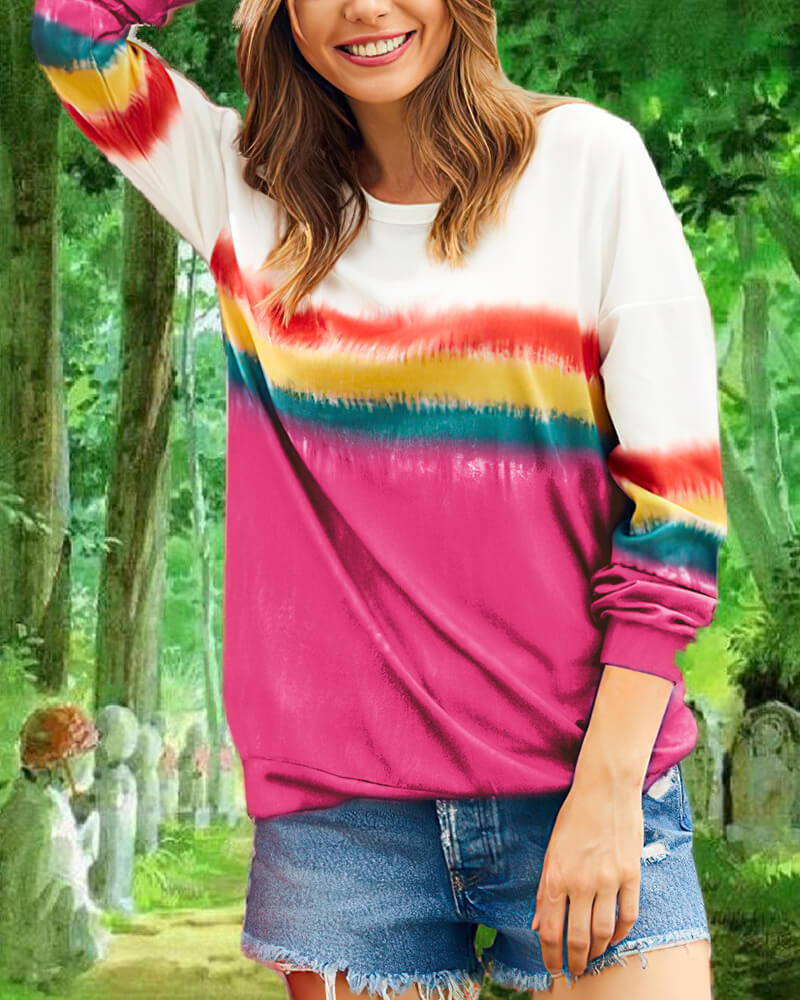 Gradient Stripe Printed T-shirt Pullover