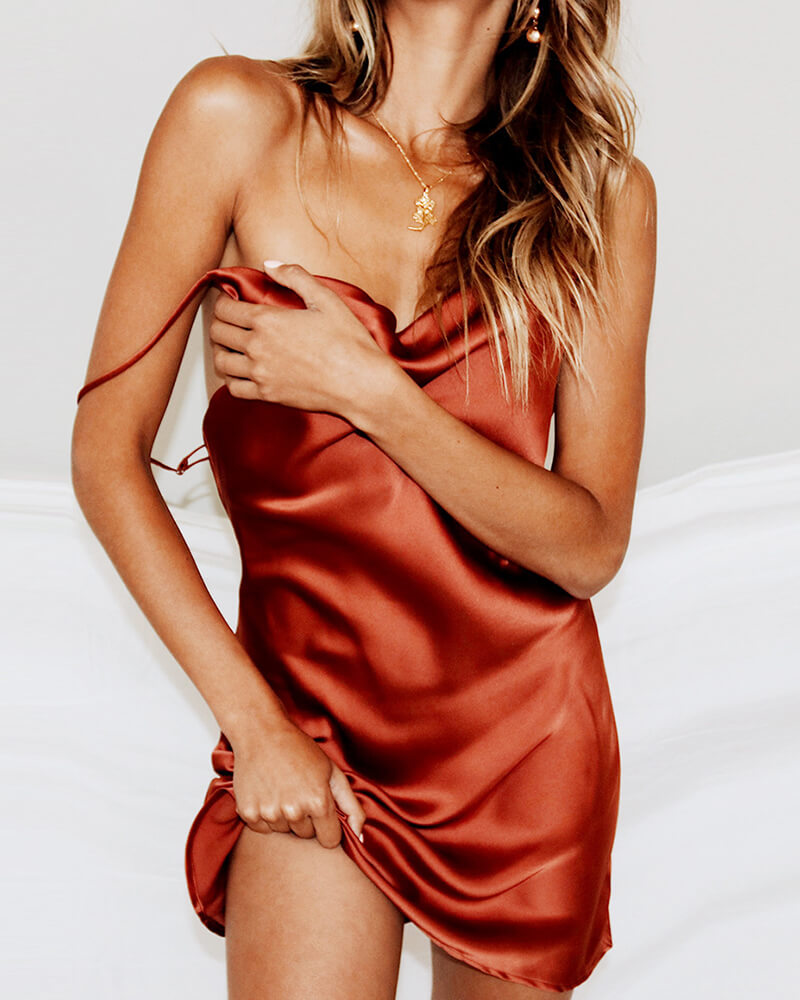 Satin Spaghetti Strap Slip Dress